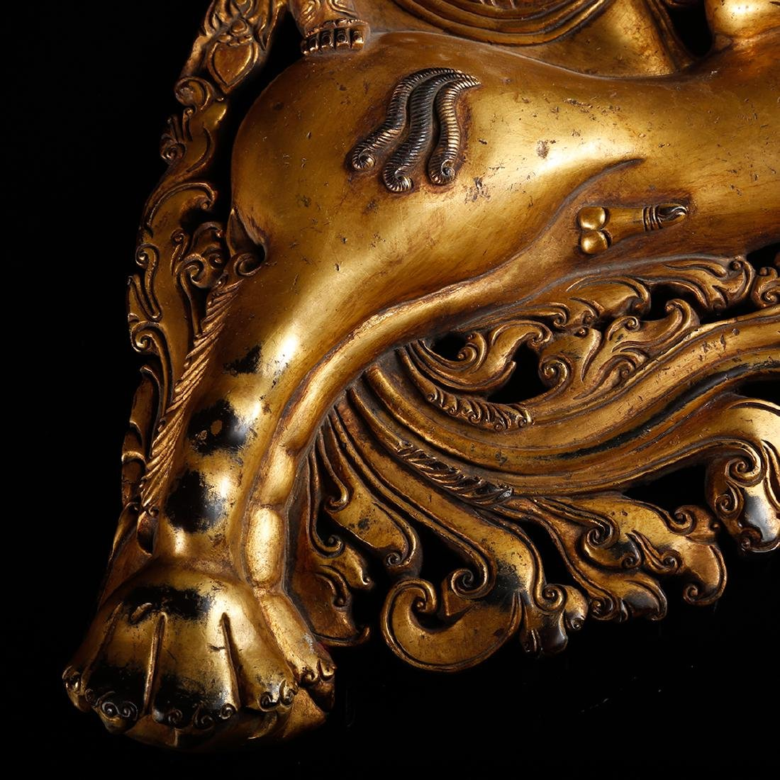 CHINESE GILT BRONZE FIGURE OF BUDDHA ON BEAST - 8