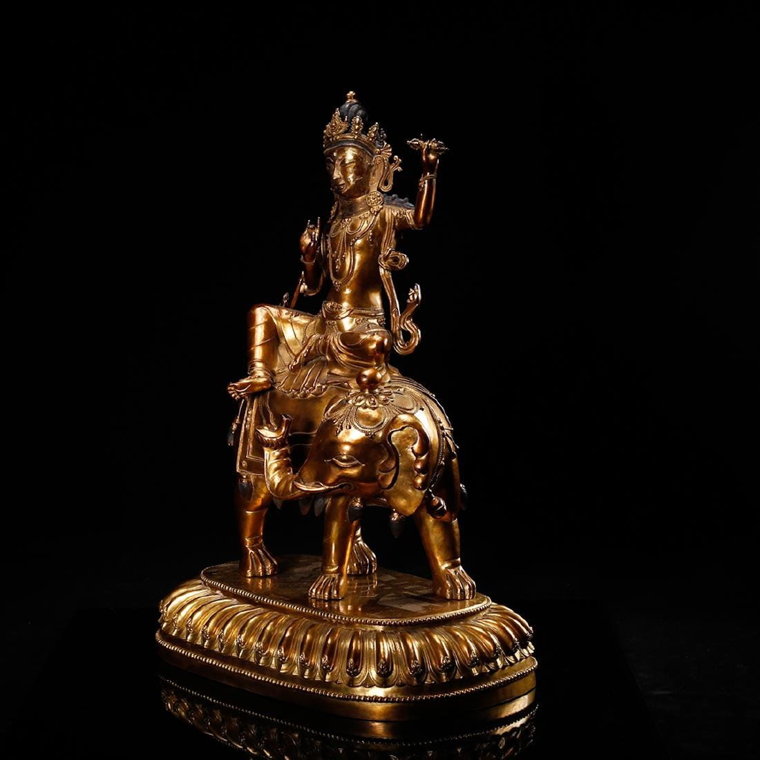 CHINESE GILT BRONZE FIGURE OF GUANYIN ON ELEPHANT - 2