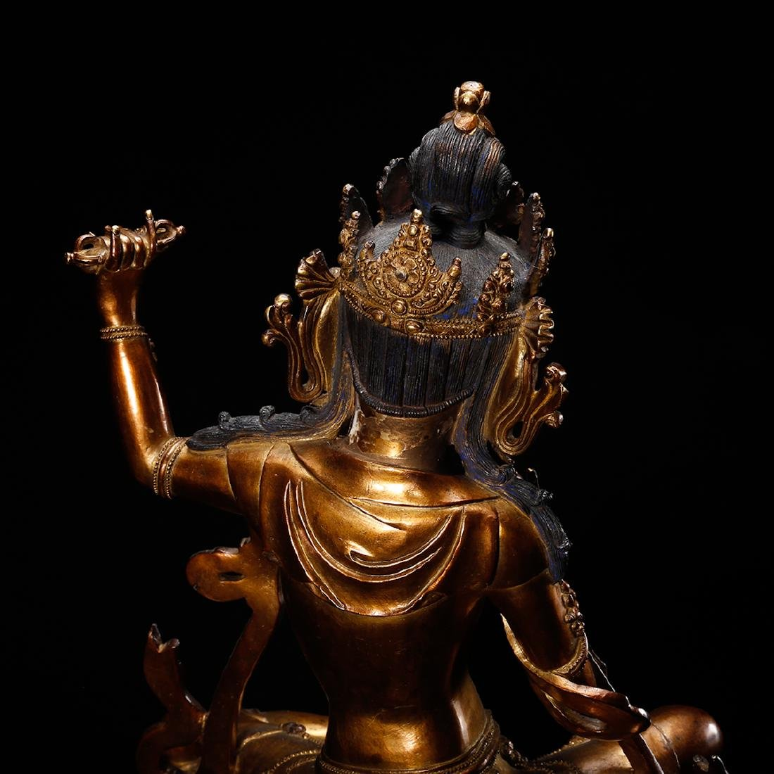 CHINESE GILT BRONZE FIGURE OF GUANYIN ON ELEPHANT - 8