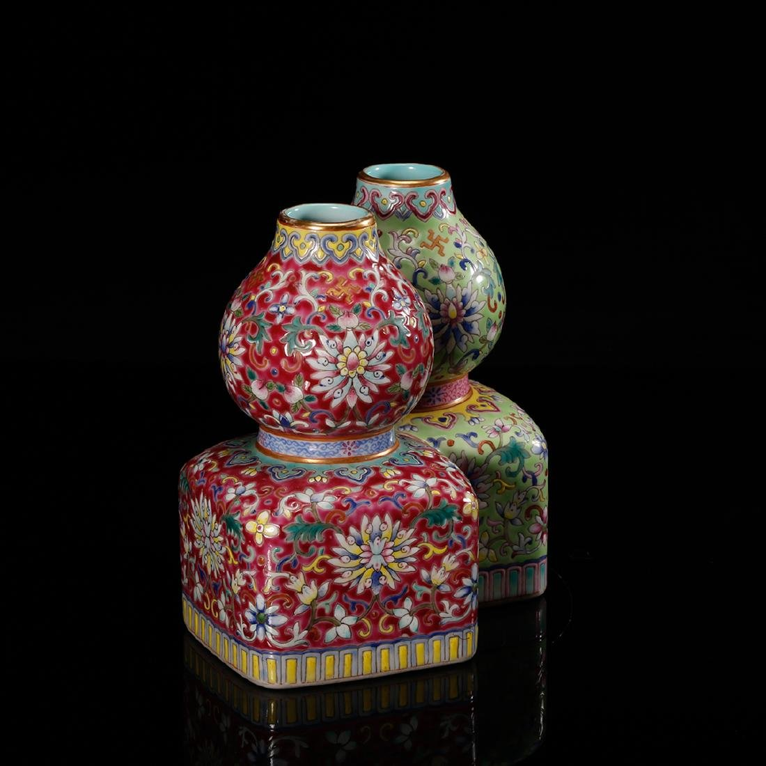 CHINESE FAMILLE ROSE DOUBLE VASE - 4