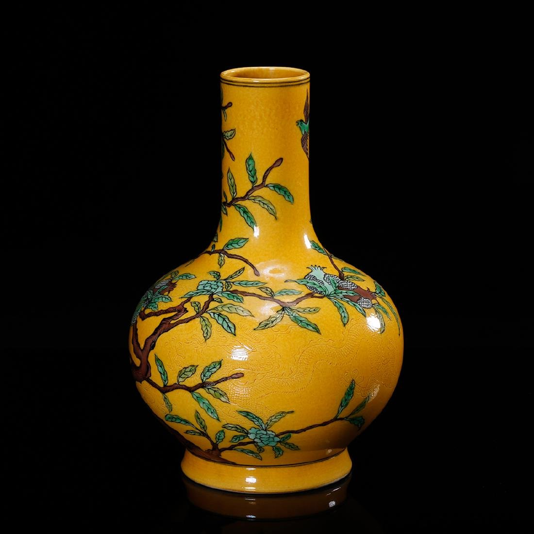 CHINESE YELLOW GROUND PORCELAIN VASE - 2