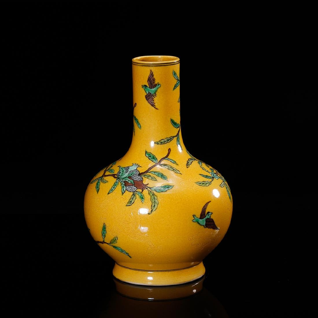 CHINESE YELLOW GROUND PORCELAIN VASE - 3