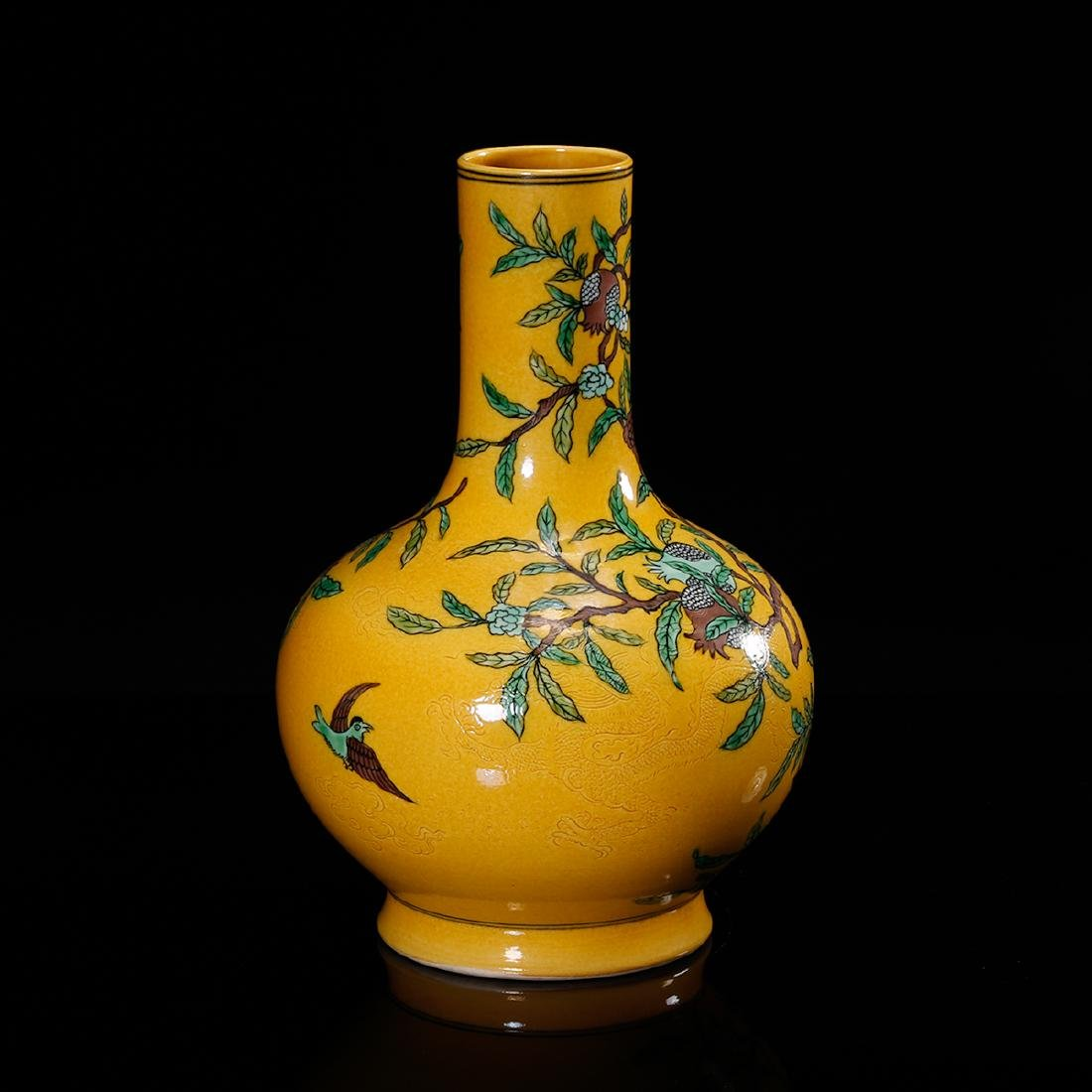 CHINESE YELLOW GROUND PORCELAIN VASE - 4