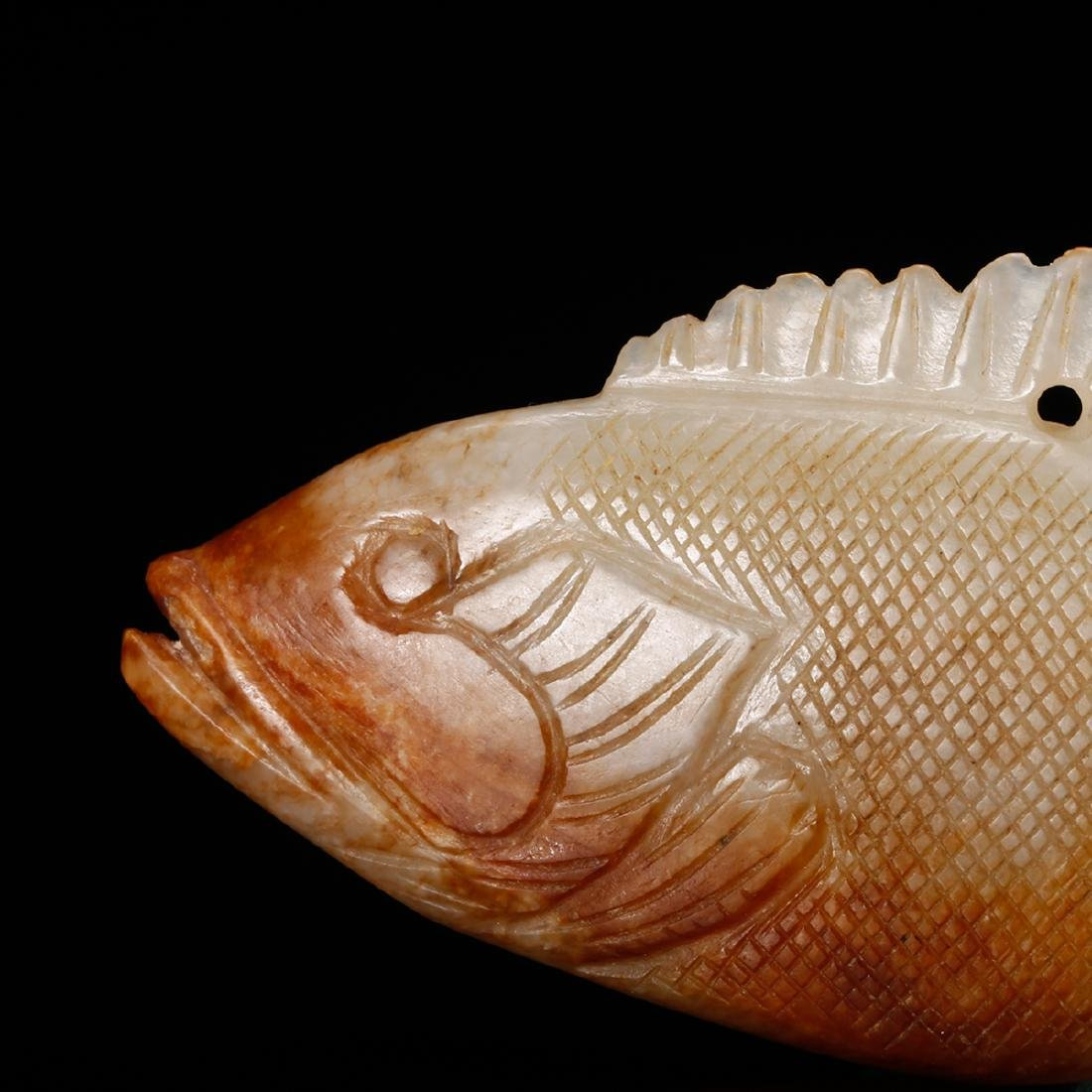 CHINESE JADE CARVED FISH PENDANT - 7