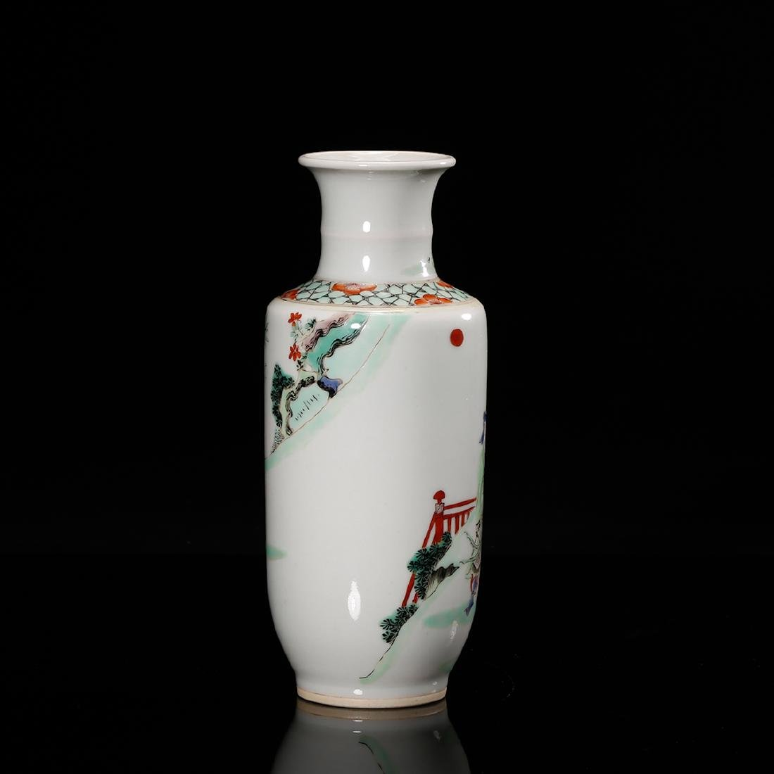 CHINESE FAMILLE ROSE ROULEAU VASE - 3