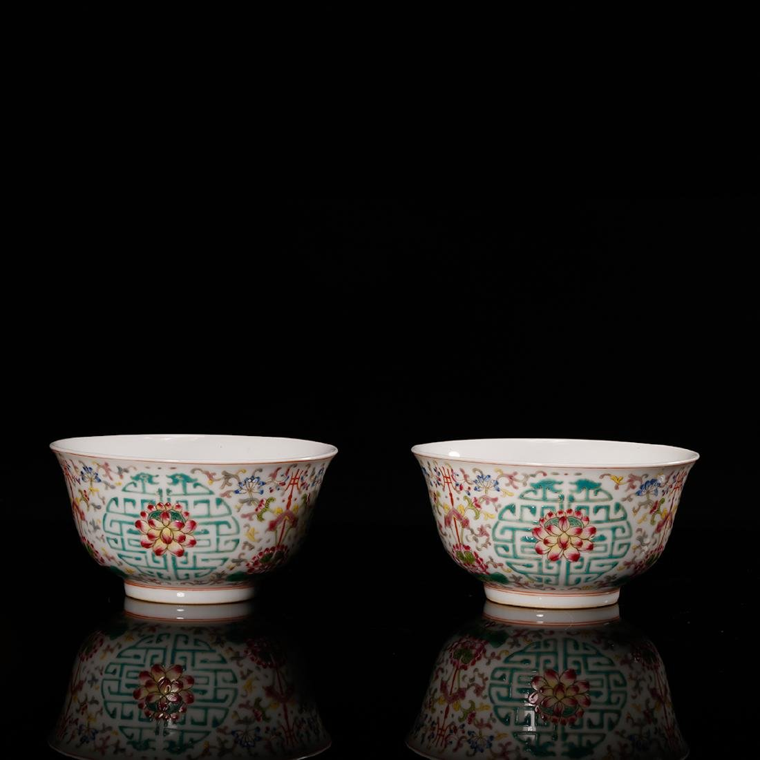 CHINESE FAMILLE ROSE PORCELAIN BOWL, PAIR - 2