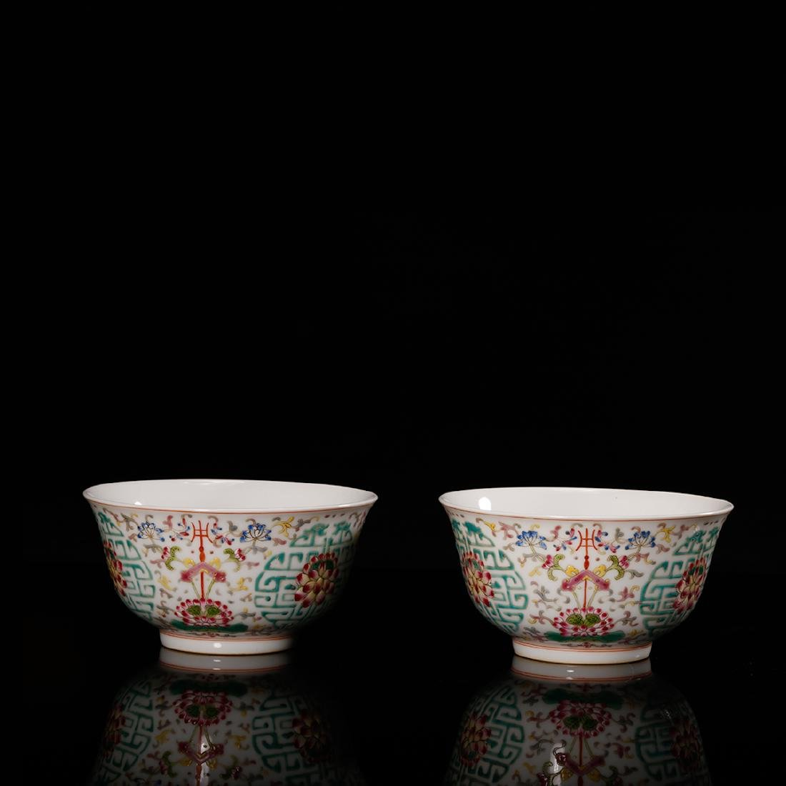 CHINESE FAMILLE ROSE PORCELAIN BOWL, PAIR - 3