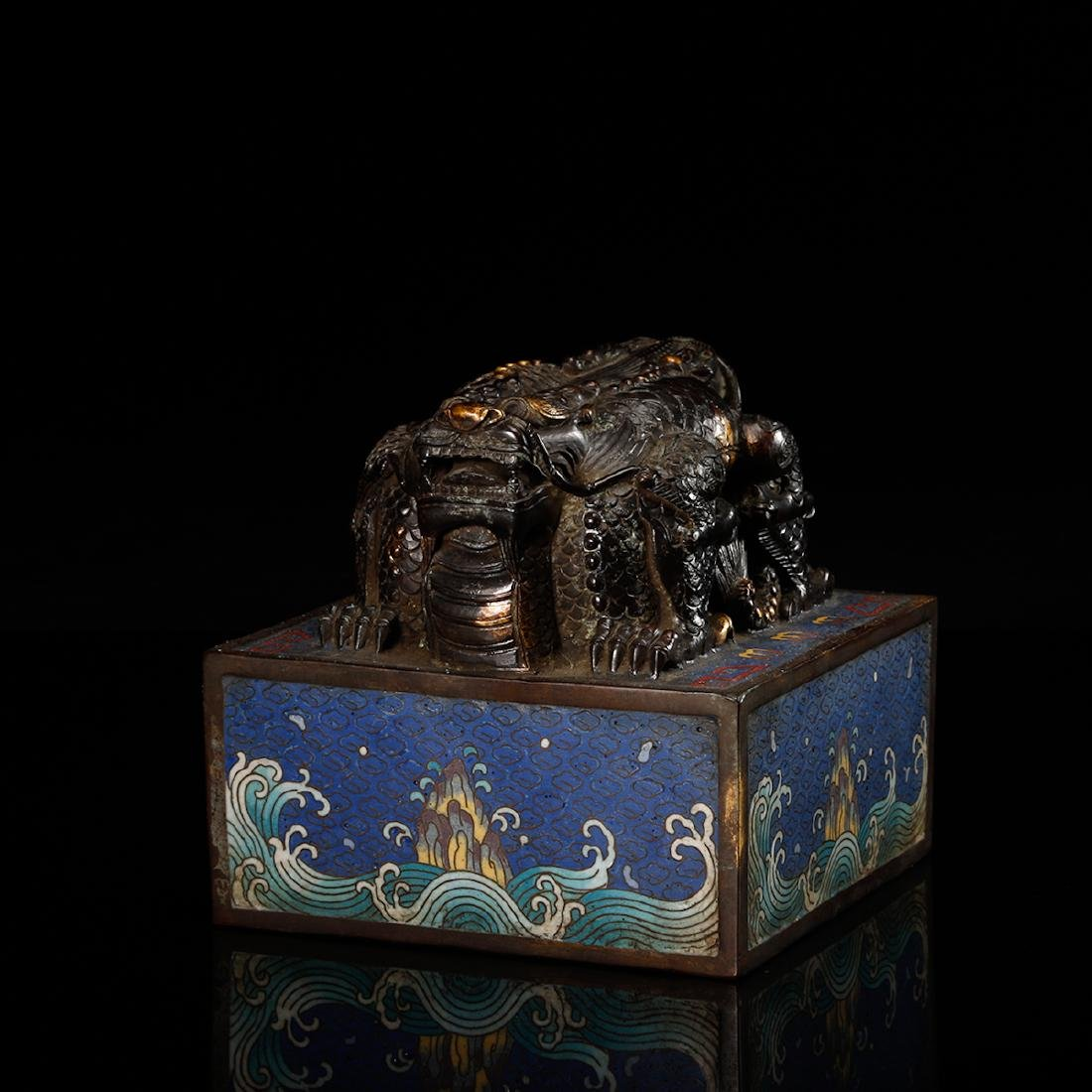 CHINESE CLOISONNE DRAGON SEAL - 2