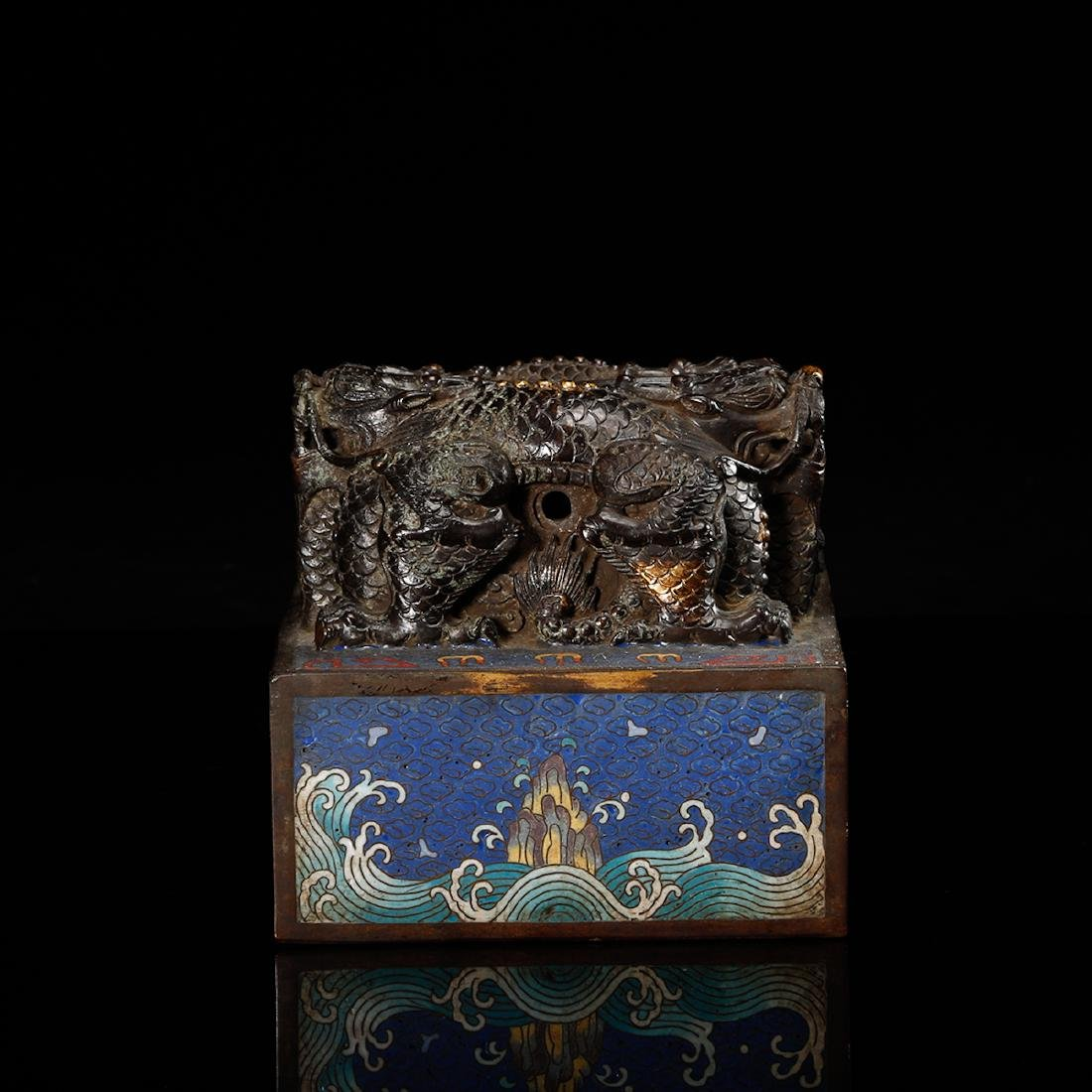 CHINESE CLOISONNE DRAGON SEAL - 3