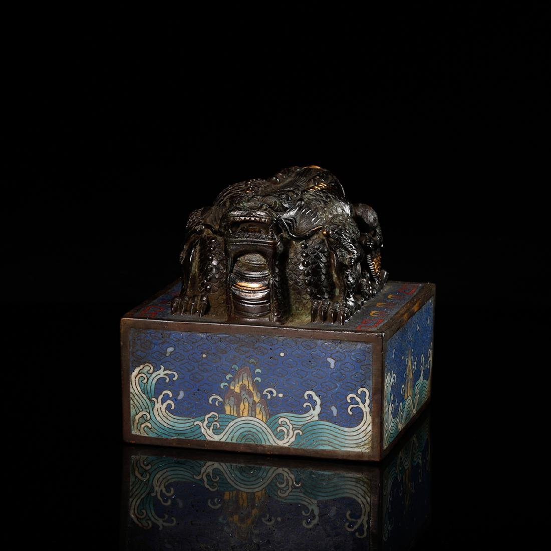 CHINESE CLOISONNE DRAGON SEAL - 4