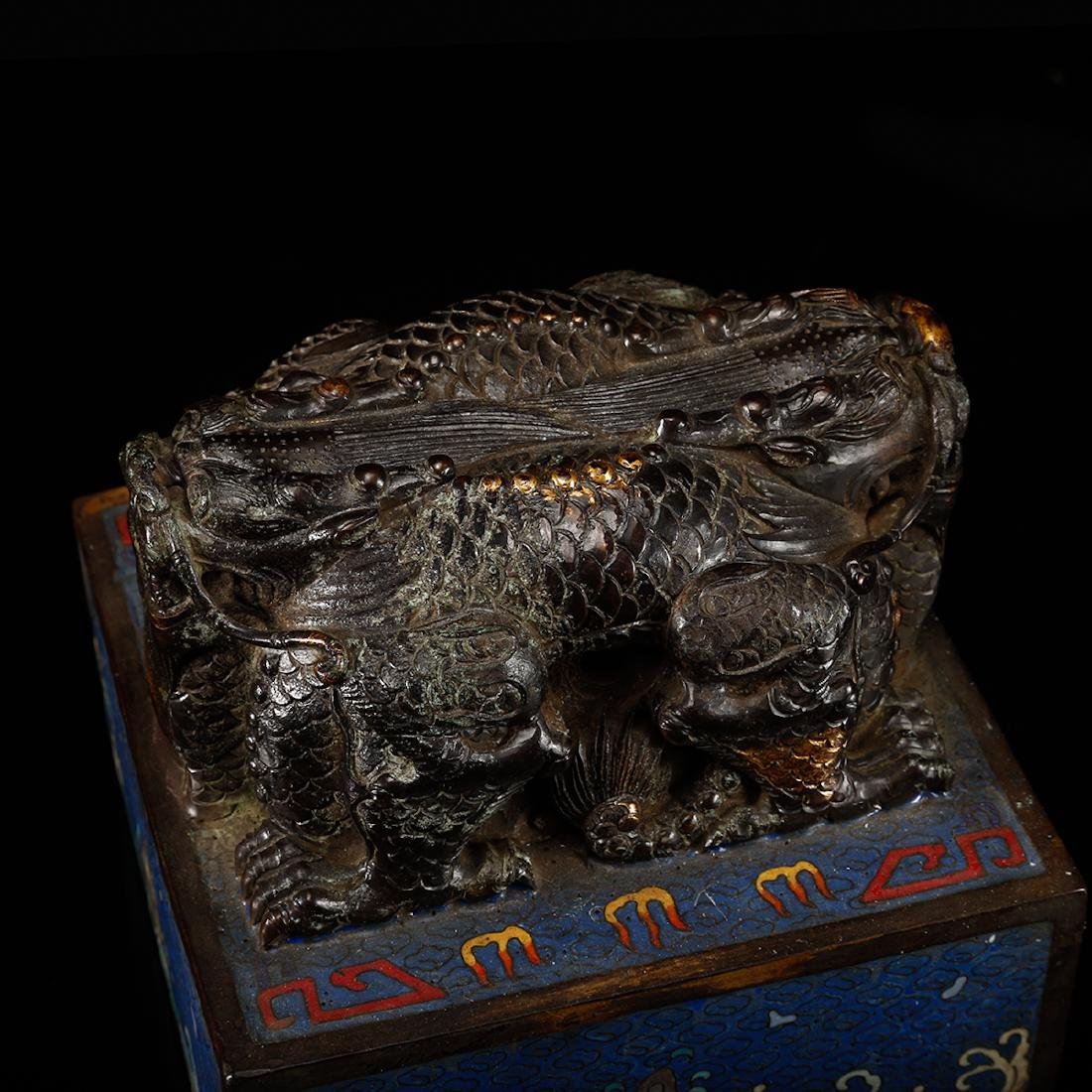 CHINESE CLOISONNE DRAGON SEAL - 5