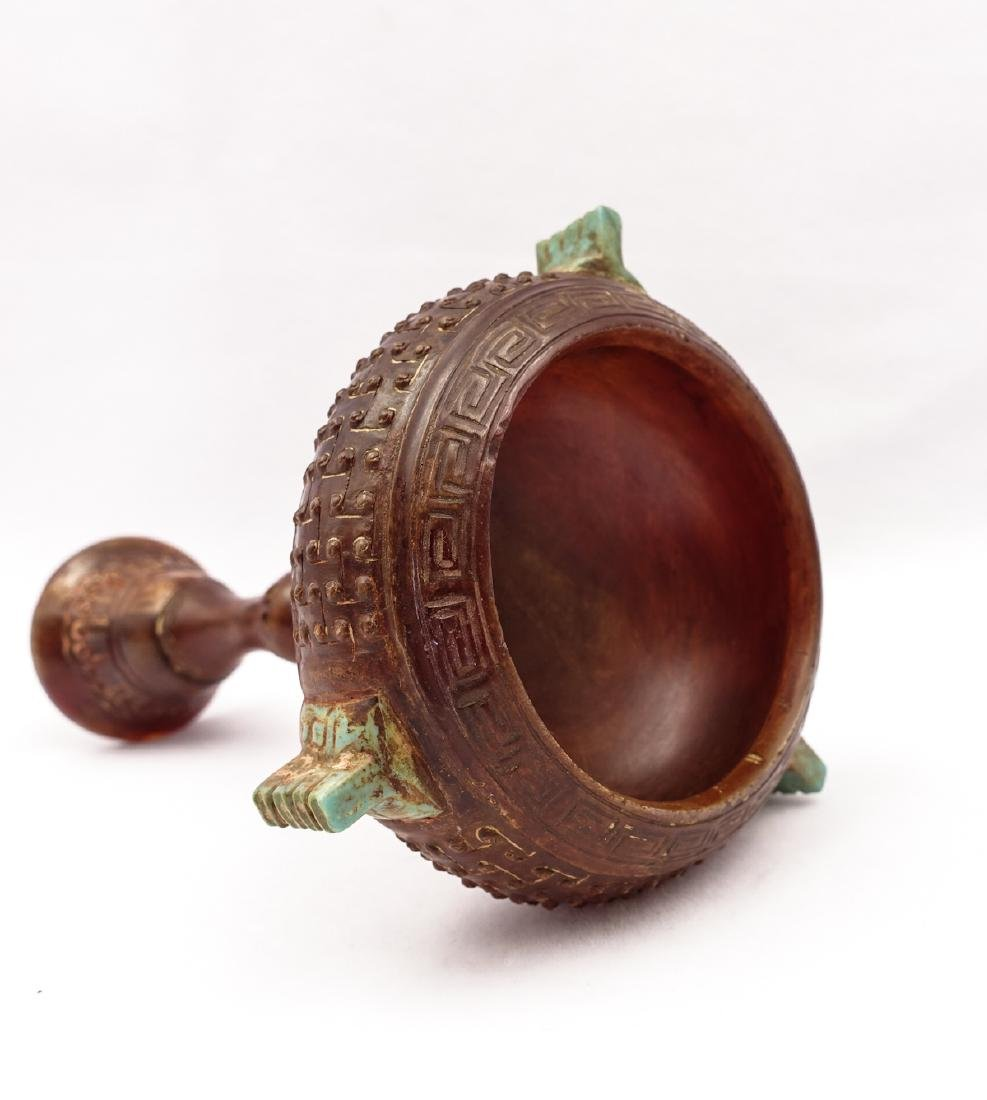 CHINESE AGATE CARVED CANDLE STAND - 7