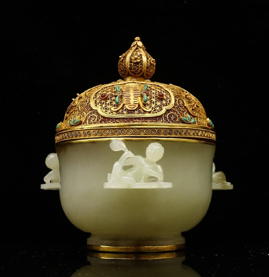 CHINESE CELADON JADE CENSER WITH GOLD COVER