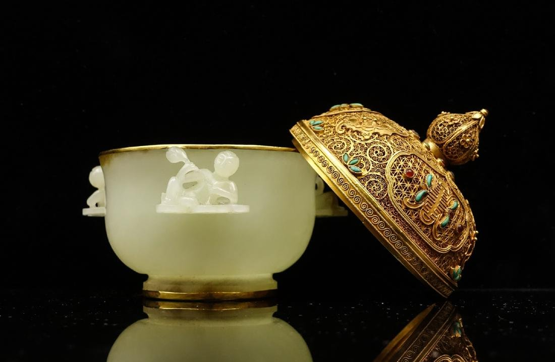 CHINESE CELADON JADE CENSER WITH GOLD COVER - 2