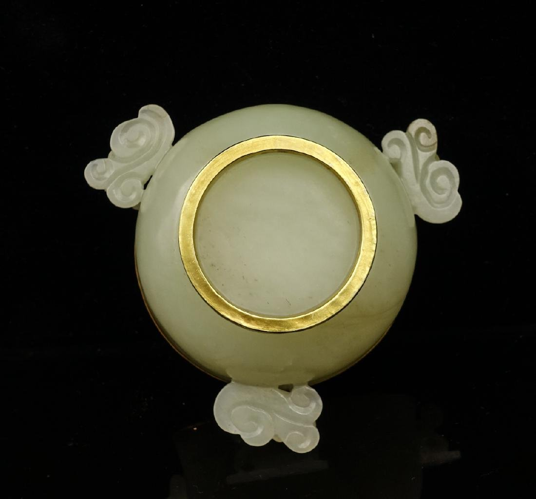 CHINESE CELADON JADE CENSER WITH GOLD COVER - 5