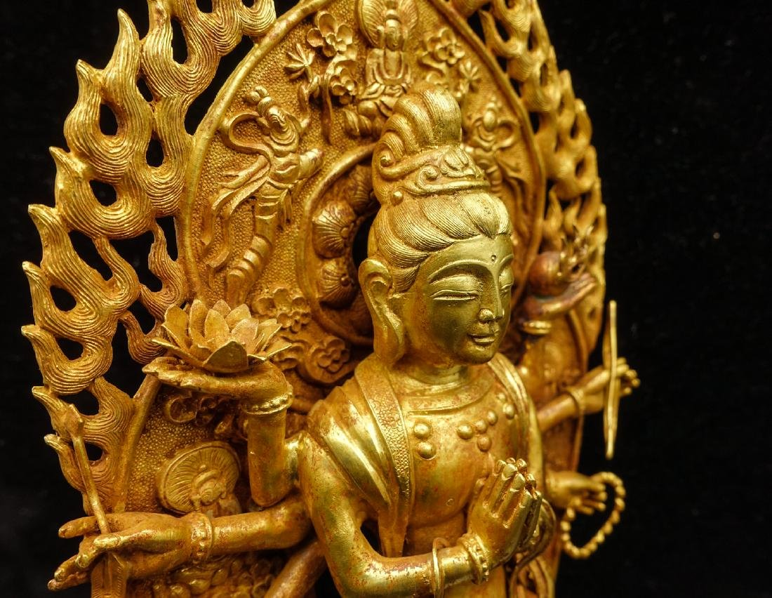 CHINESE GOLD FIGURE OF AVALOKITESVARA - 10