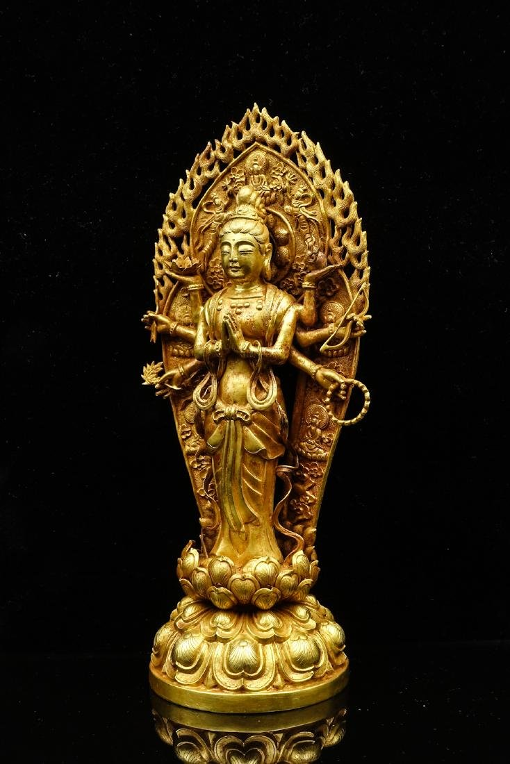 CHINESE GOLD FIGURE OF AVALOKITESVARA - 2