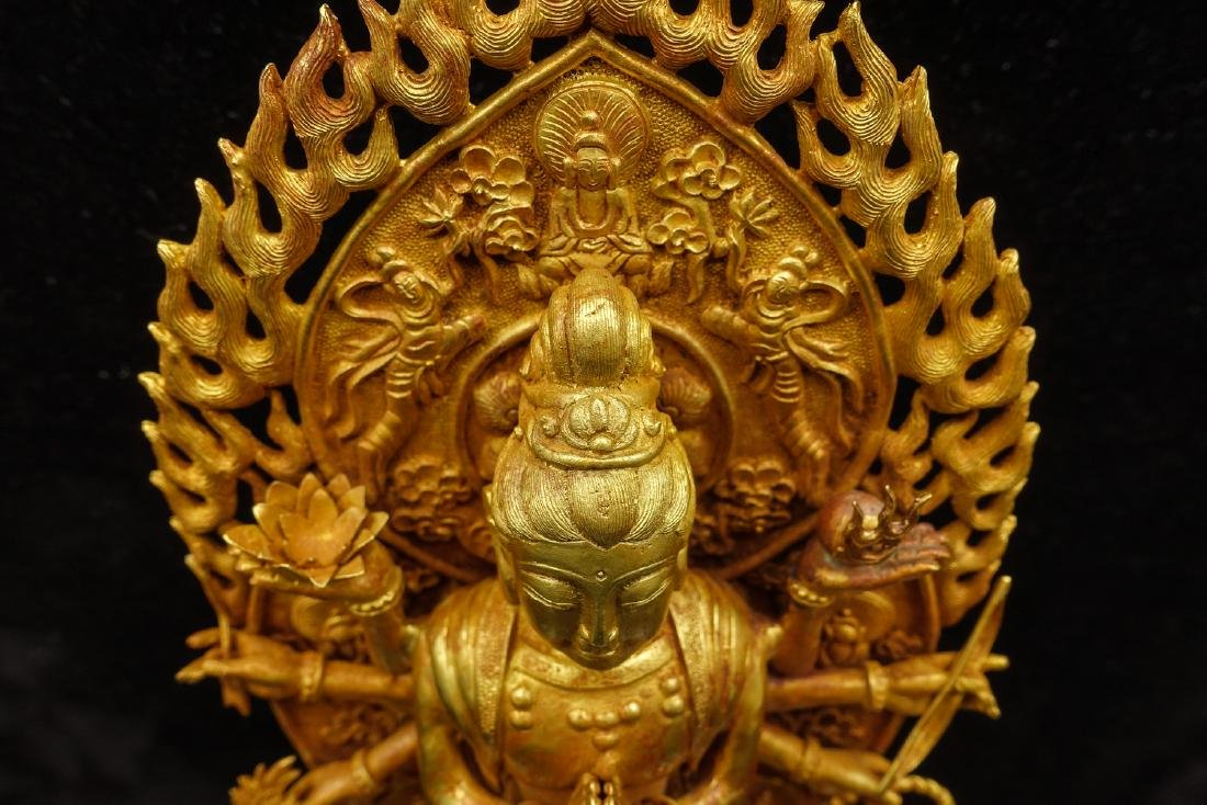 CHINESE GOLD FIGURE OF AVALOKITESVARA - 8