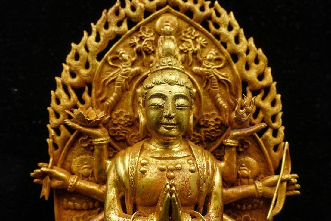CHINESE GOLD FIGURE OF AVALOKITESVARA - 9