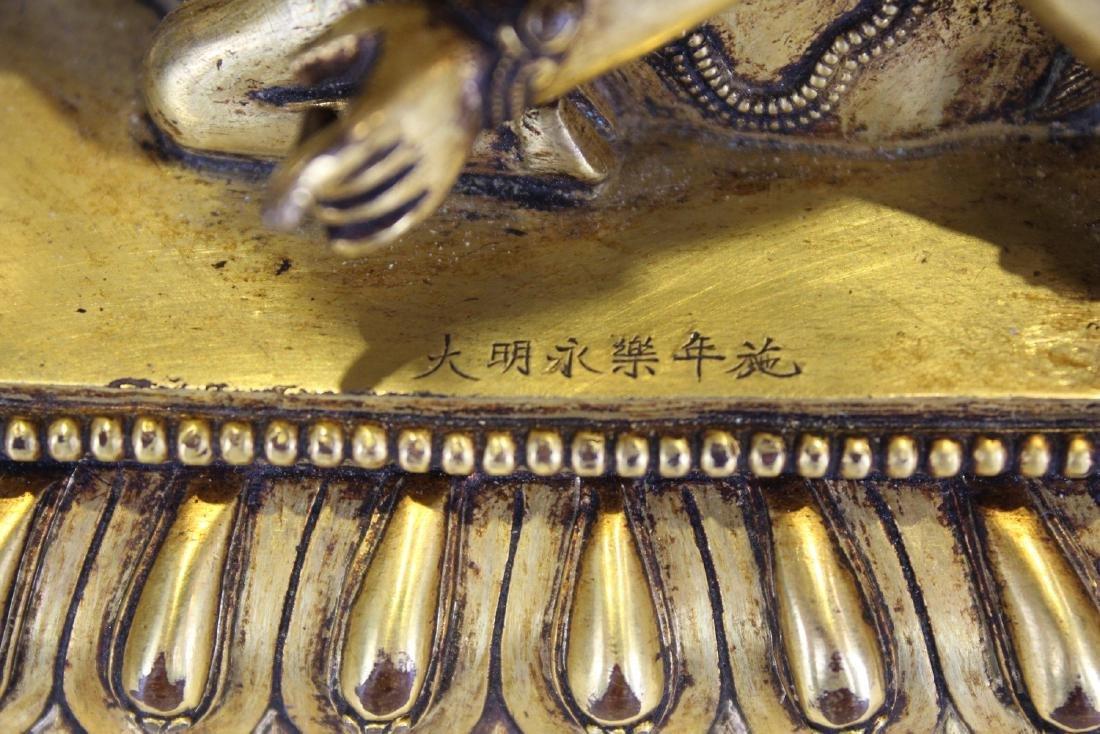 CHINESE GILT BRONZE FIGURE OF RAKTA YAMARI - 10