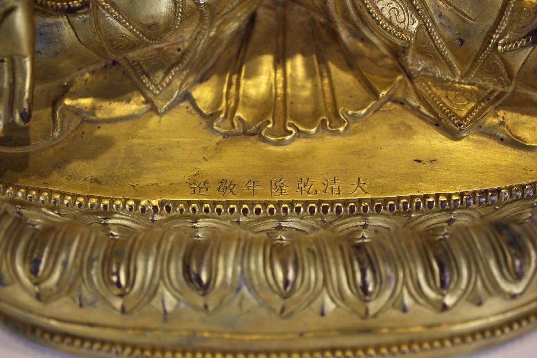 CHINESE GILT BRONZE FIGURE OF BHAISAJYAGURU - 8