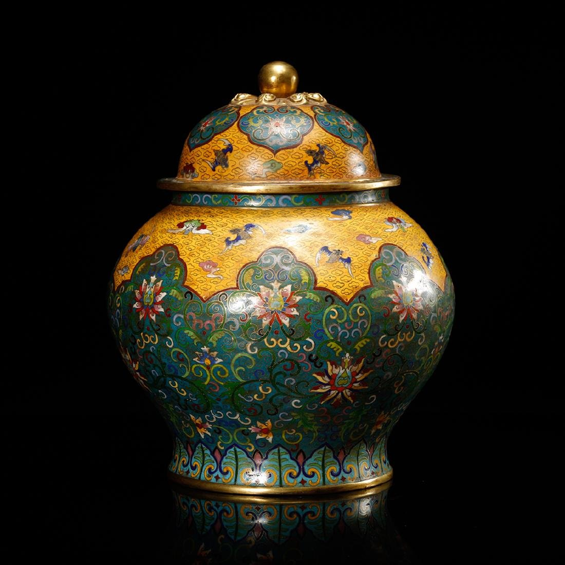 CHINESE CLOISONNE GINGER JAR - 2