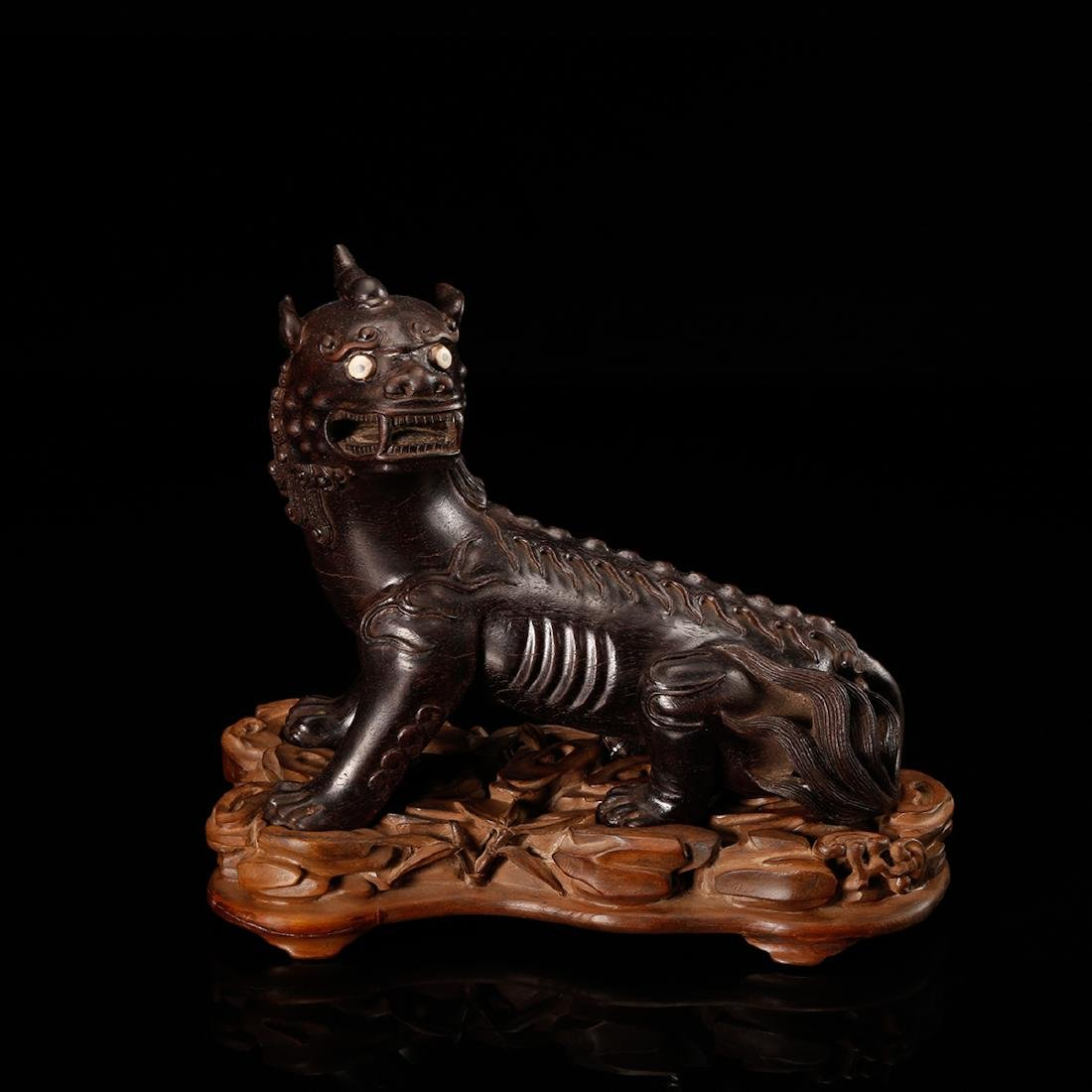 CHINESE ZITAN WOOD CARVED BEAST