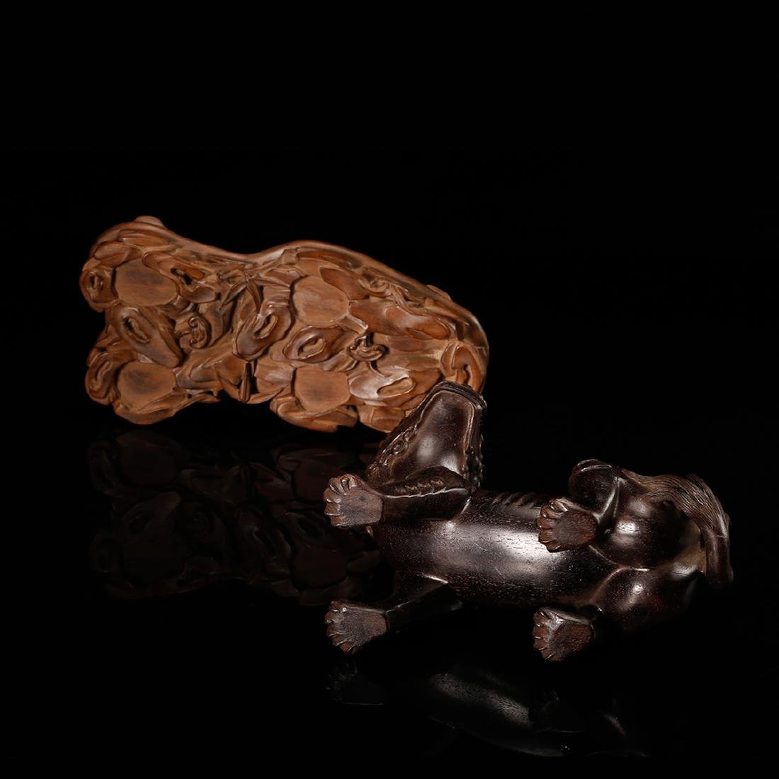 CHINESE ZITAN WOOD CARVED BEAST - 5