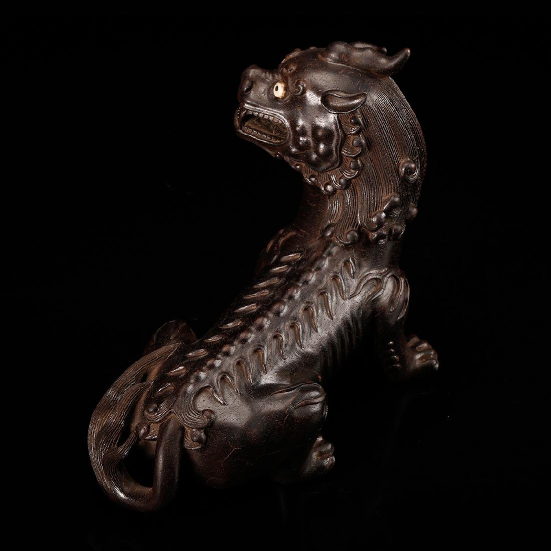 CHINESE ZITAN WOOD CARVED BEAST - 6