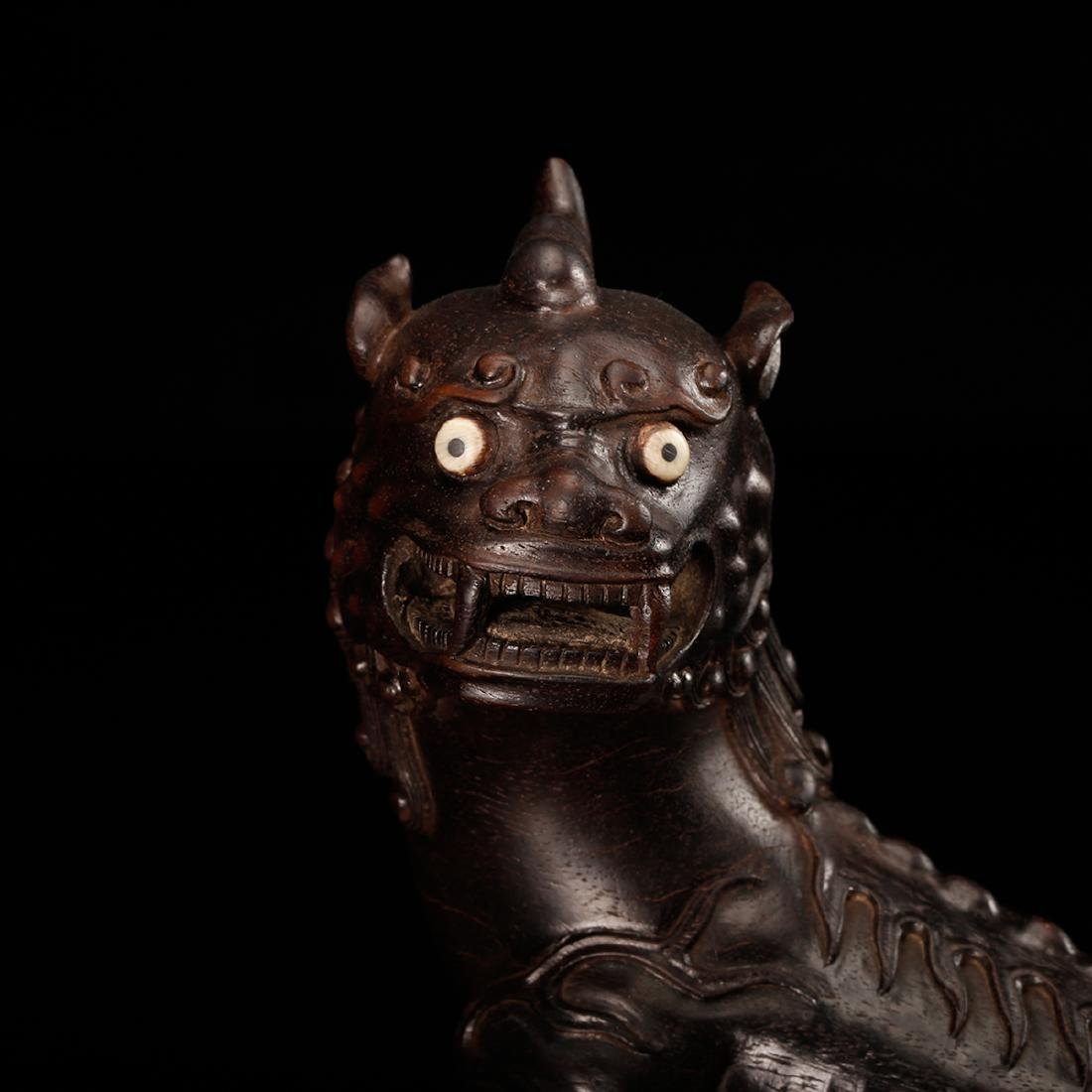 CHINESE ZITAN WOOD CARVED BEAST - 7