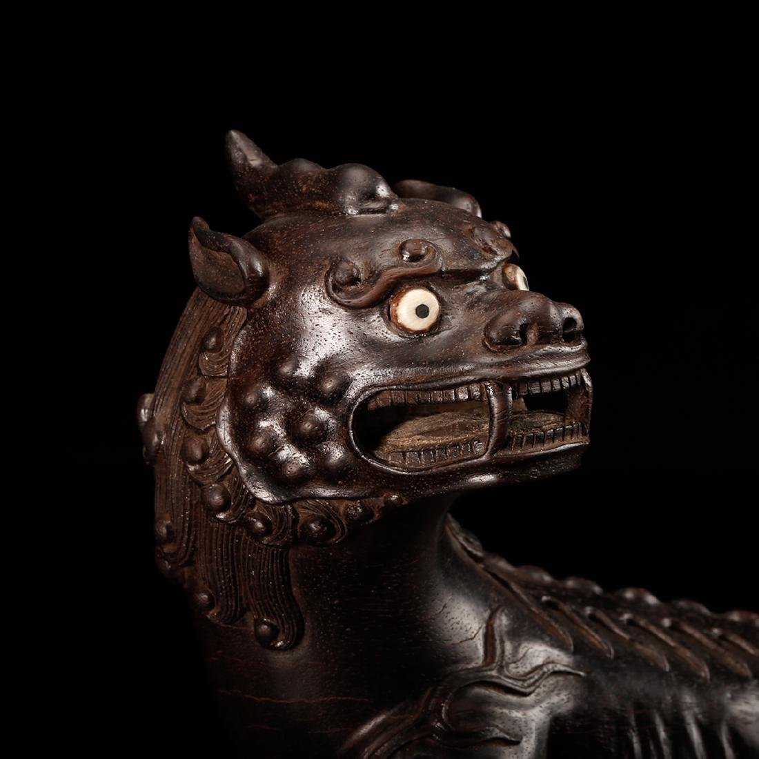 CHINESE ZITAN WOOD CARVED BEAST - 8