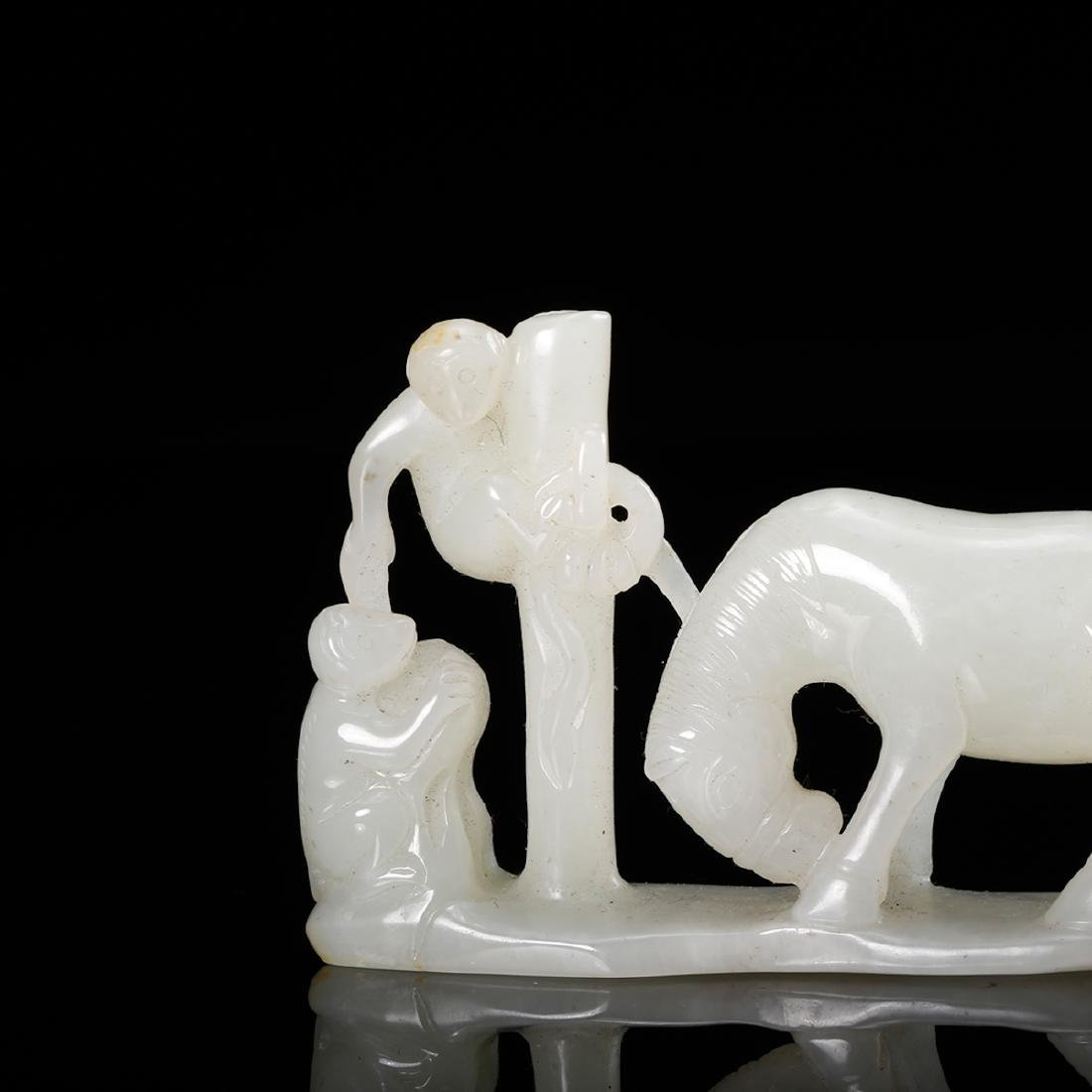 CHINESE WHITE JADE MAN WITH HORSE - 7