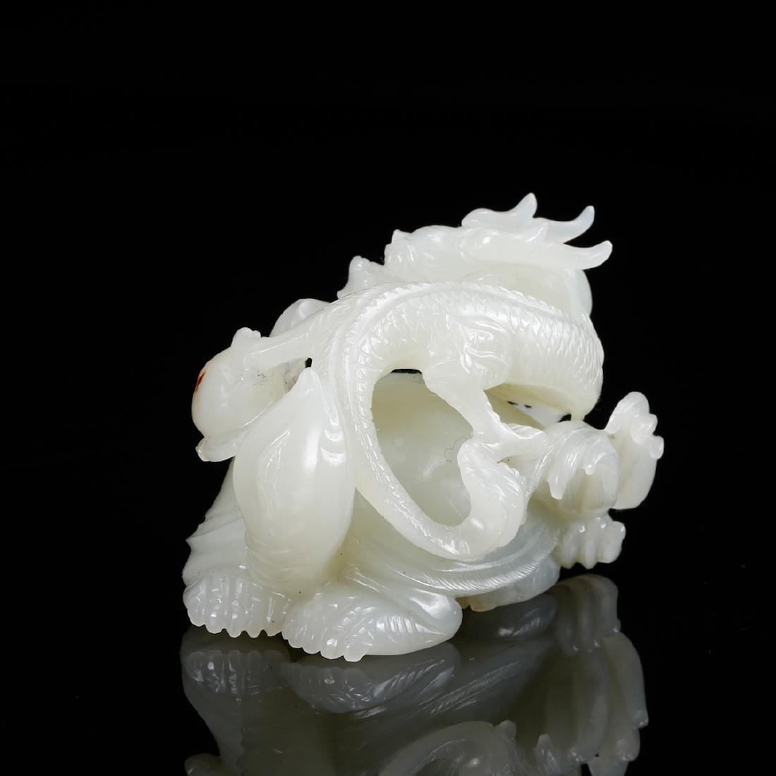 CHINESE WHITE JADE CARVED DRAGON - 4