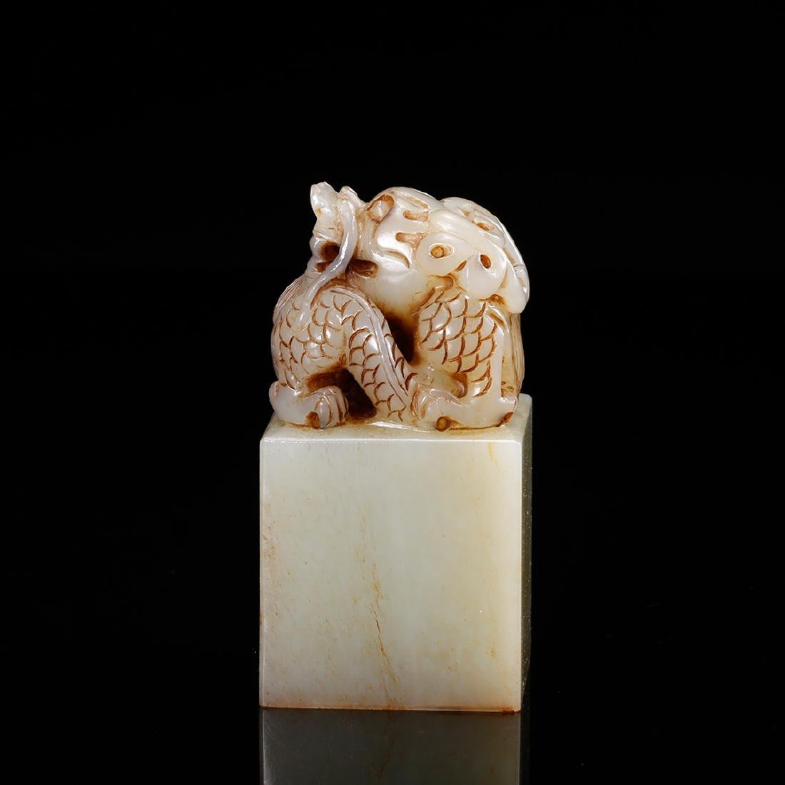 CHINESE WHITE JADE DRAGON SEAL - 2