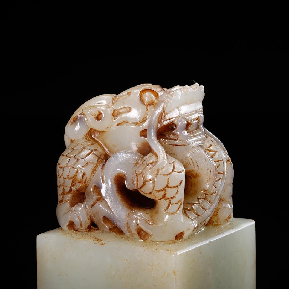 CHINESE WHITE JADE DRAGON SEAL - 9