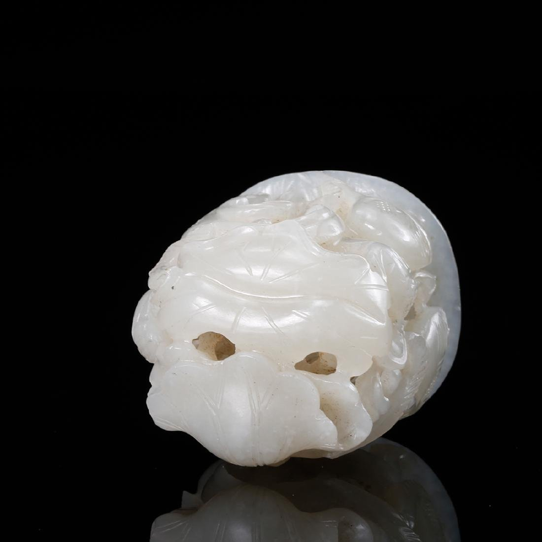 CHINESE WHITE JADE CENSER FINIAL - 6