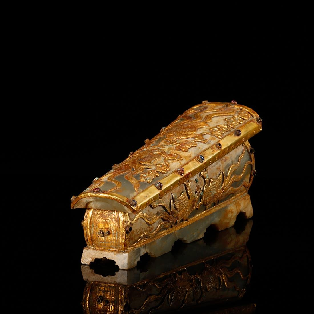 CHINESE JADE CASKET WITH GILT SILVER - 2