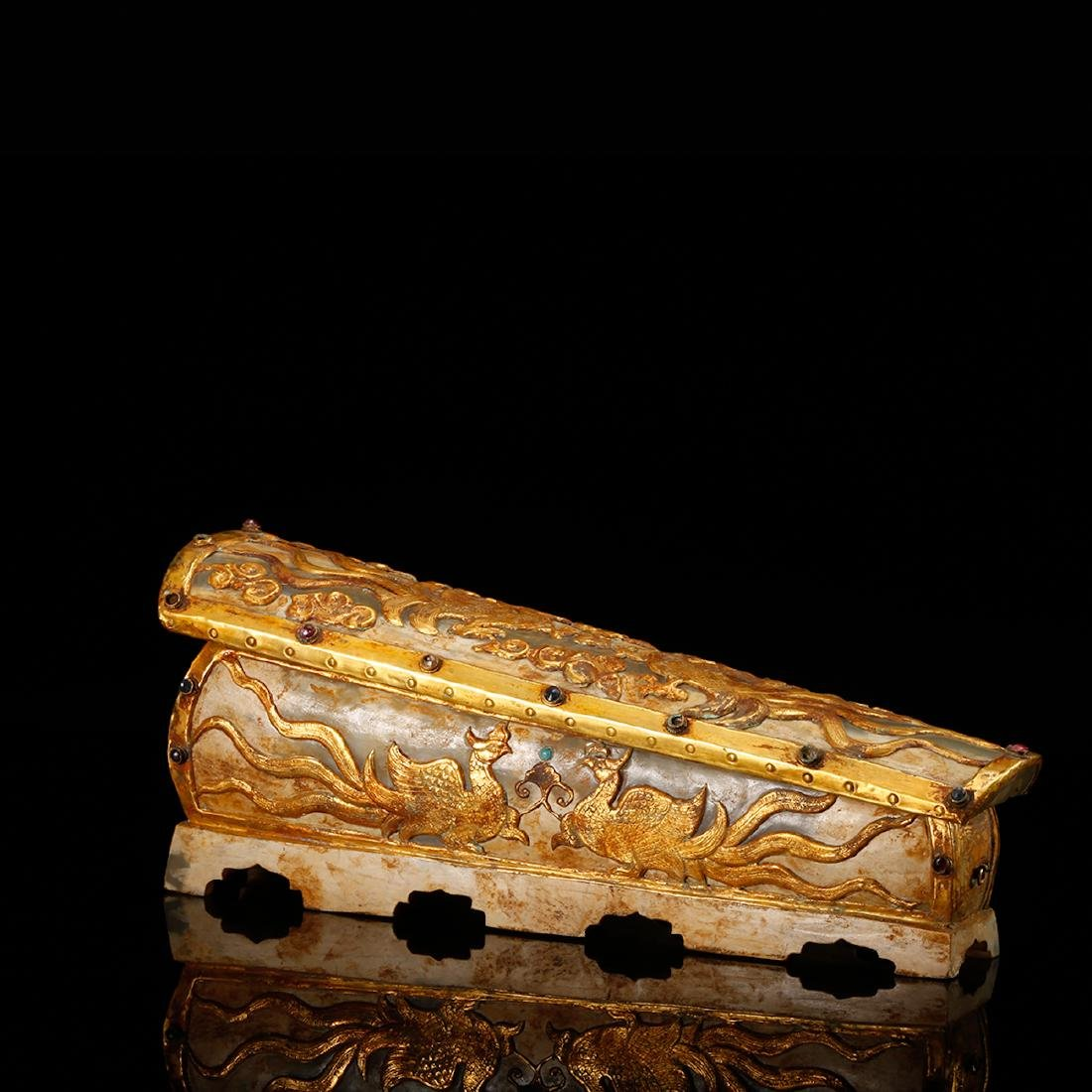 CHINESE JADE CASKET WITH GILT SILVER - 3