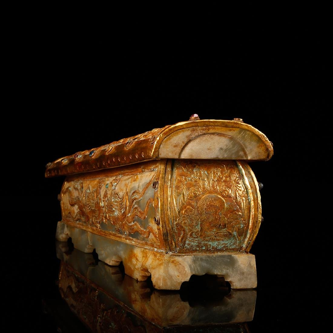 CHINESE JADE CASKET WITH GILT SILVER - 4