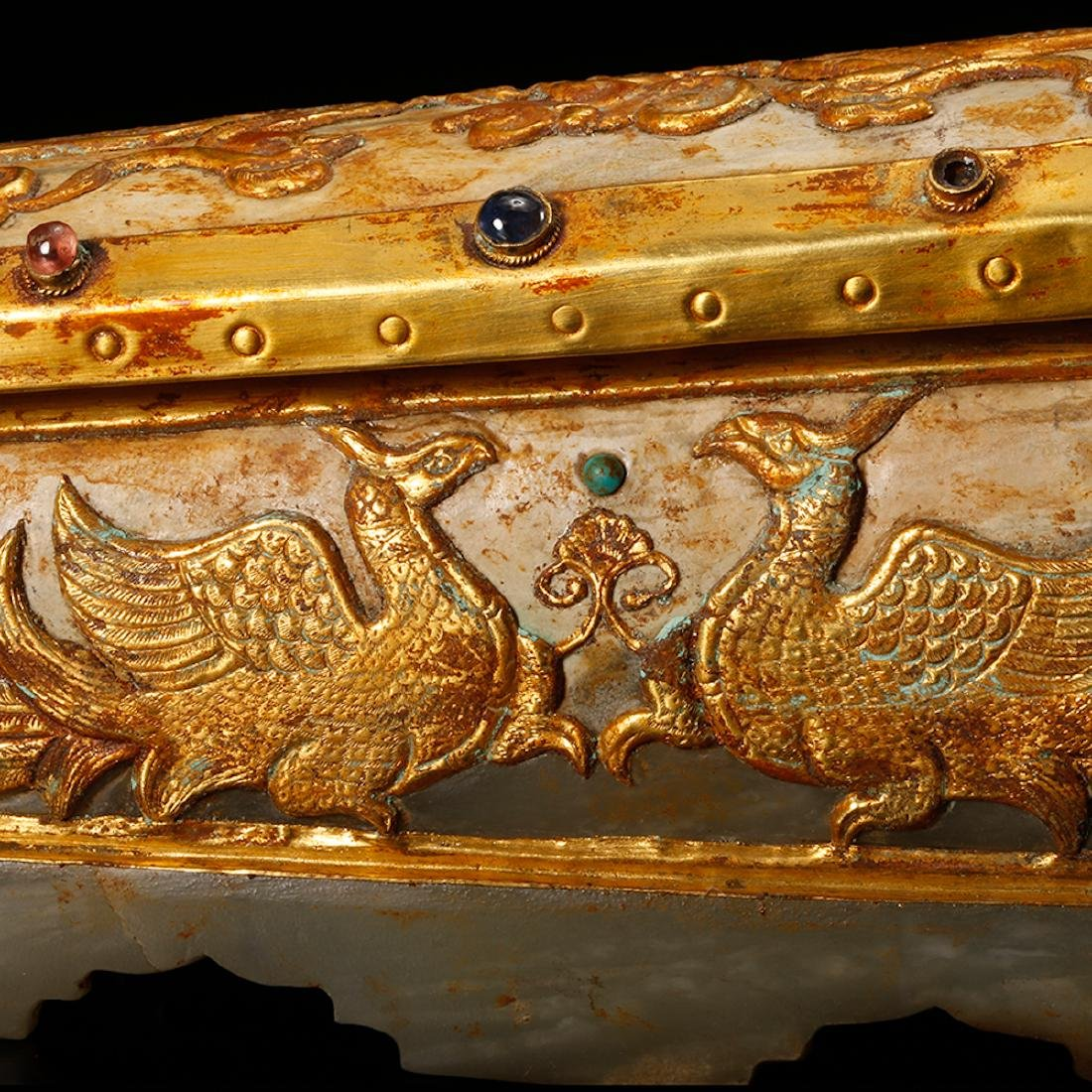 CHINESE JADE CASKET WITH GILT SILVER - 7