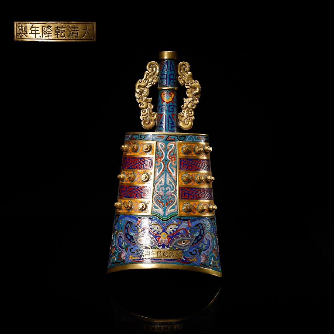 CHINESE CLOISONNE BELL, BIANZHONG
