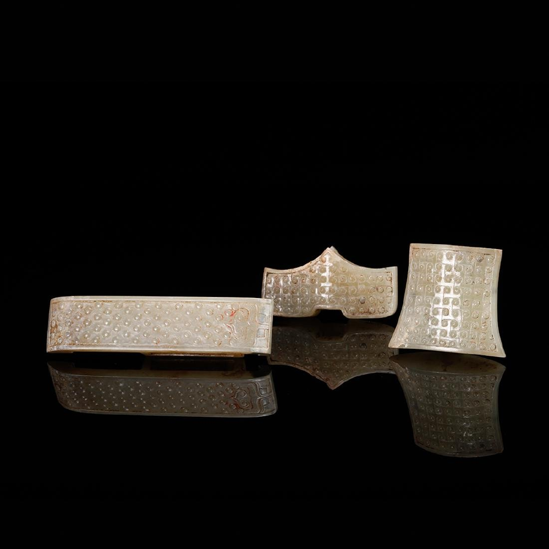 CHINESE ARCHAIC JADE SWORD FITTINGS, SET OF 3
