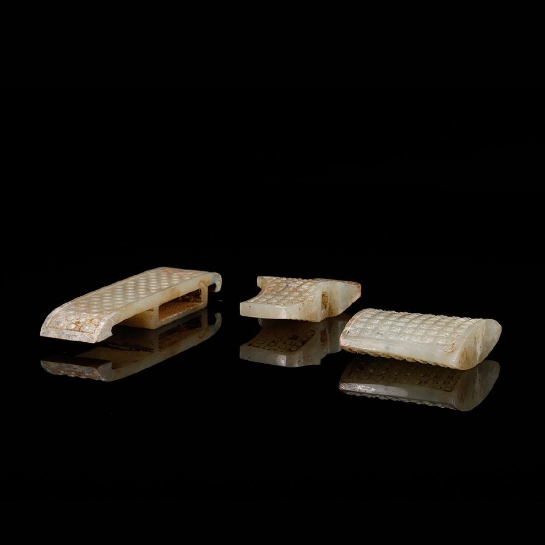 CHINESE ARCHAIC JADE SWORD FITTINGS, SET OF 3 - 5