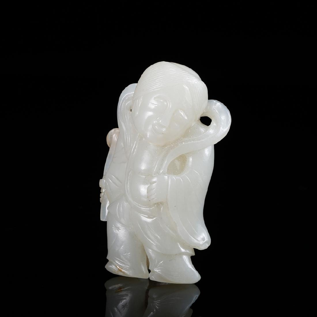 CHINESE WHITE JADE CARVED BOY