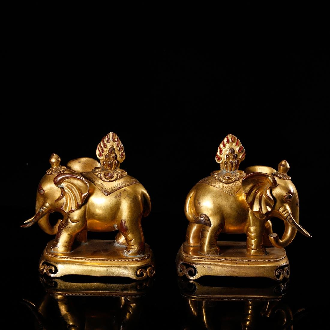 CHINESE PAIR OF GILT BRONZE ELEPHANTS - 2