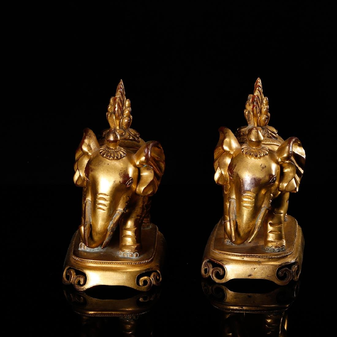CHINESE PAIR OF GILT BRONZE ELEPHANTS - 3