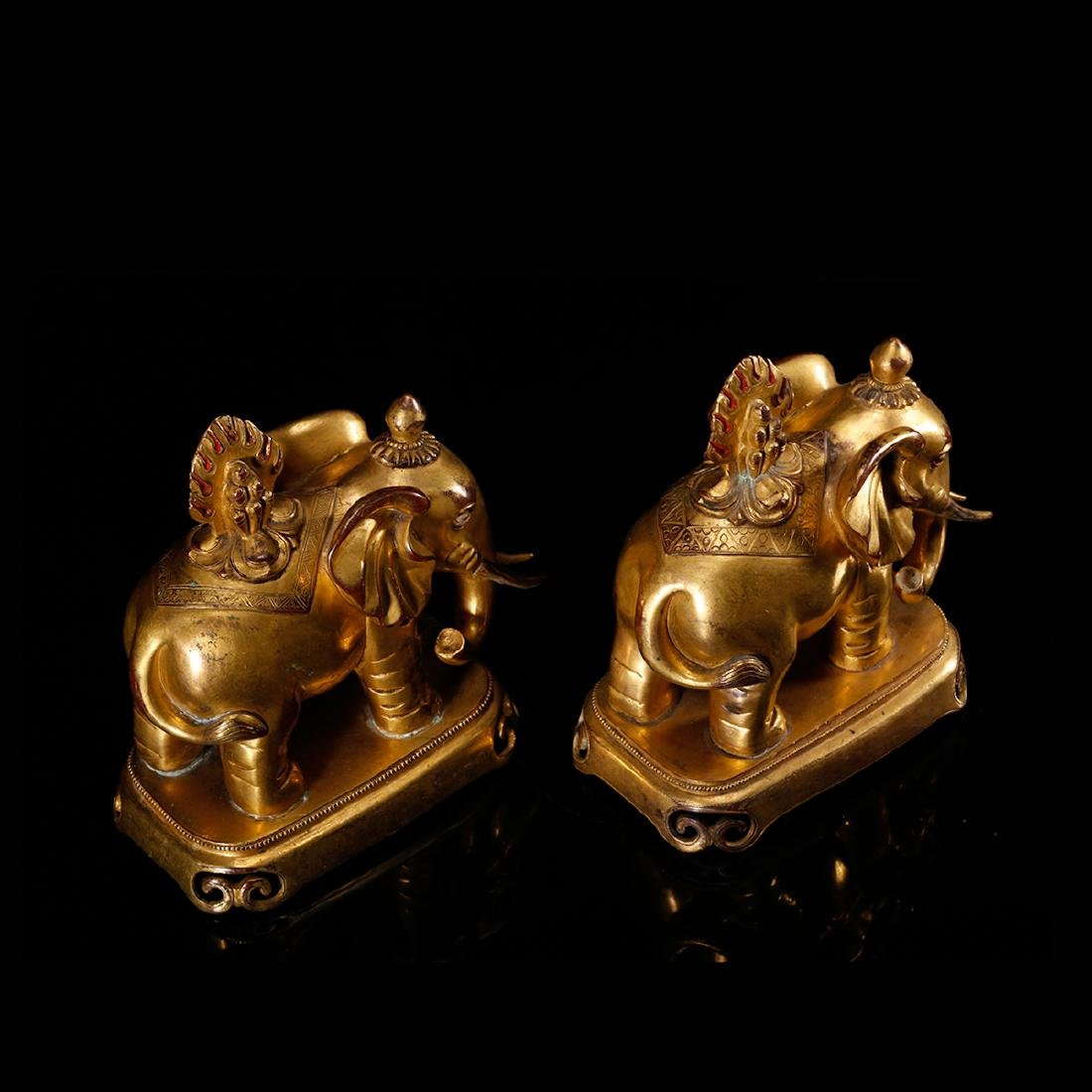 CHINESE PAIR OF GILT BRONZE ELEPHANTS - 6