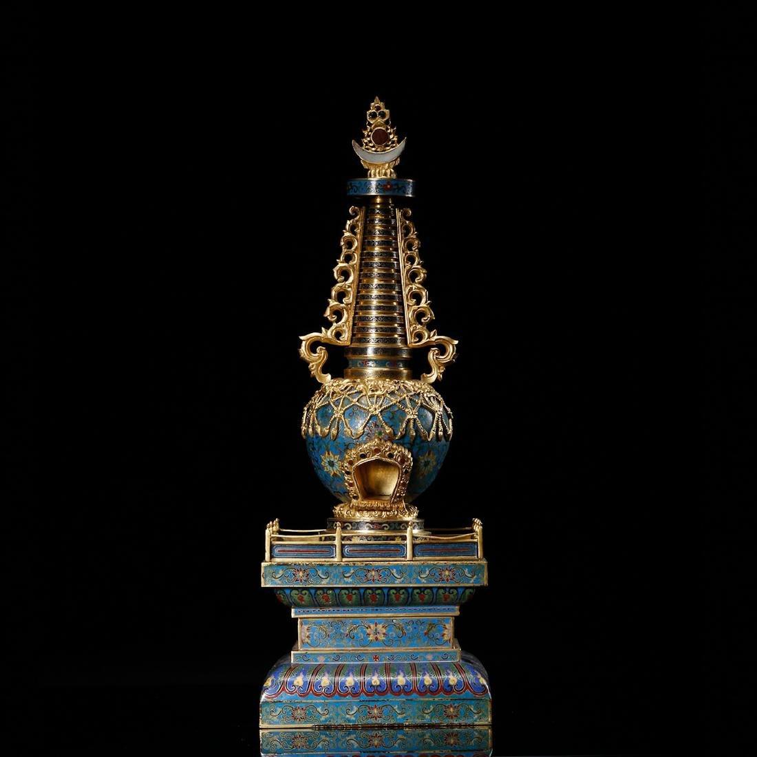 CHINESE CLOISONNE BUDDHIST STUPA - 2