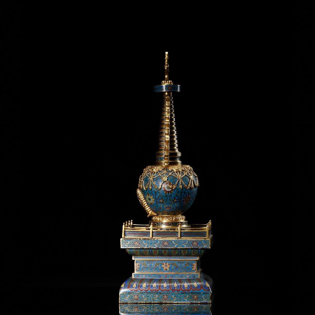 CHINESE CLOISONNE BUDDHIST STUPA - 3