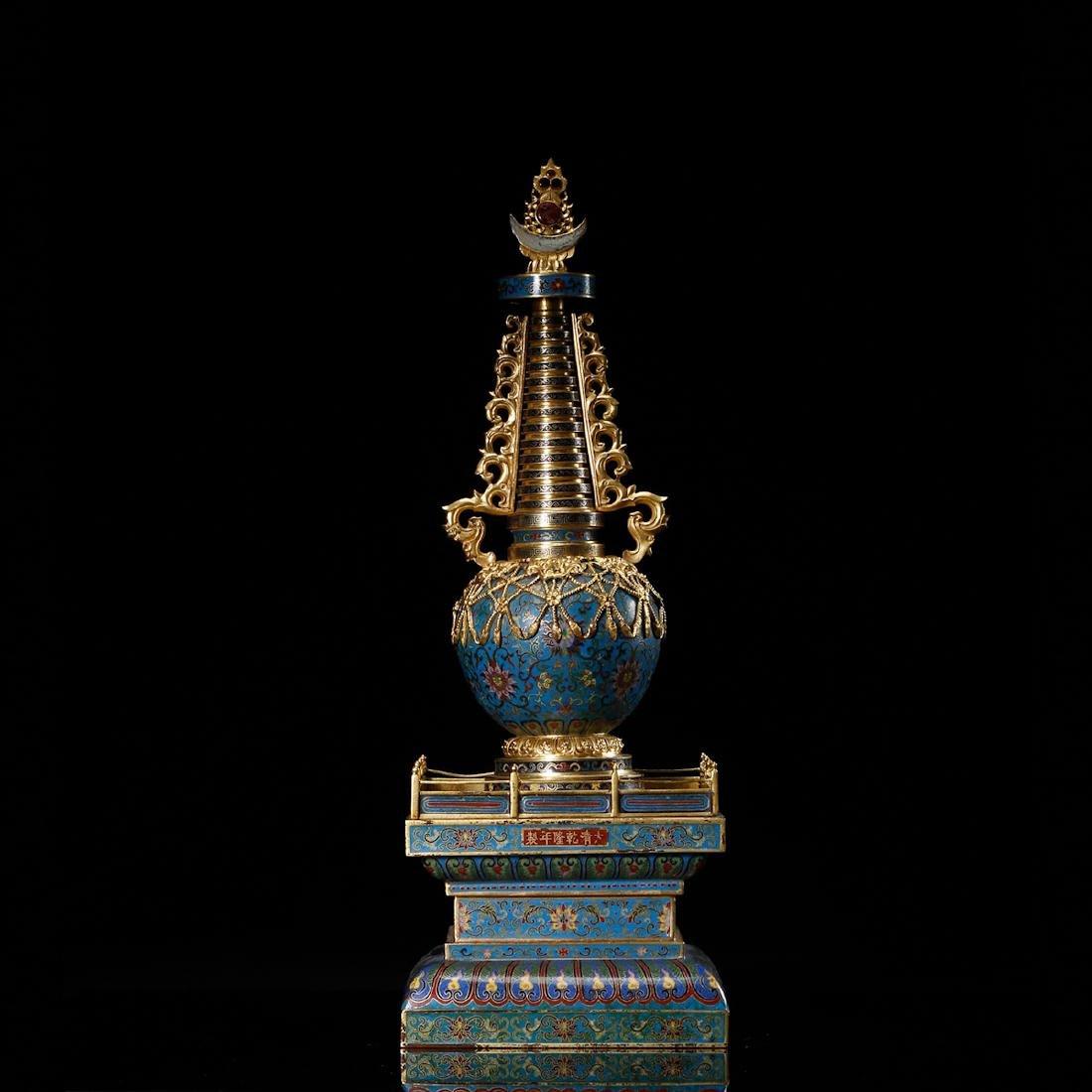 CHINESE CLOISONNE BUDDHIST STUPA - 4